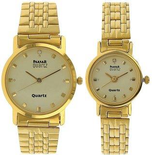 HWT Quartz Gold Plated Couple Watches