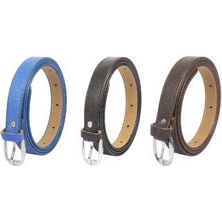 Amicraft Pack of 3 Colour Ladies/Girls/Womens Thin Slim Sleek Style Waist Belt