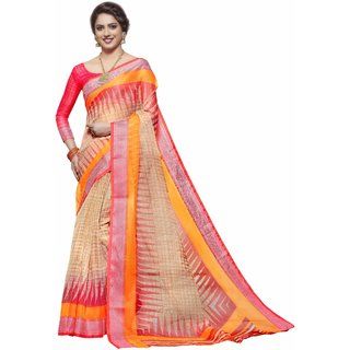 Miraan Printed  Organza Saree for women with blouse