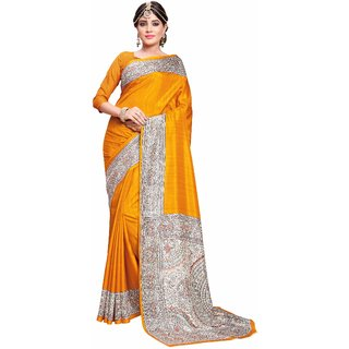 Miraan Printed Art Silk Saree for women with blouse