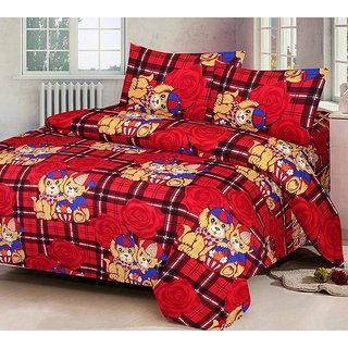 The Intellect Bazaar 100% Polyester 3D Designer Printed Double Bedsheet Red