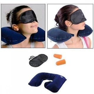 3 in 1 Travel Set - (Neck Pillow Eye Mask Ear Plug)