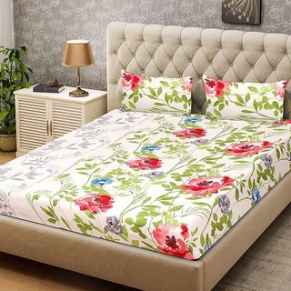 Exceptional Reet Textile 3D Printed 1 Double Bed Sheet, 2 Pillow Cover