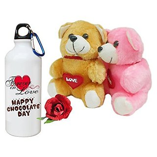 Sky Trends Valentine Combo Gift For Husband Printed Sipper Bottle Soft Teddys Artificial Rose Gift For Kiss Day Propose day Promise Day Hug Day Rose Day Gifts