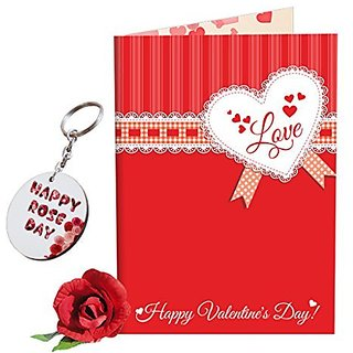 Sky Trends Valentine Combo Gift For Wife Printed Keychain Greeting card Rose Best Gift For Kiss Day Propose day Promise Day Hug Day Rose Day Gifts