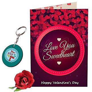 Sky Trends Valentine Combo Gift For Husband Printed Keychain Greeting card Rose Best Gift For Kiss Day Propose day Promise Day Hug Day Rose Day Gifts