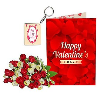 Sky Trends Best Wife Valentine Day Gifts Combo Greeting Card, Artificial Flowers Bunch and Keychain Girlfriend Fiance Birthday Anniversary Gifts Rose Day Gifts Promise Gifts 040