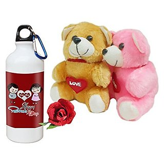 Sky Trends Valentine Combo Gift For Friend Printed Sipper Bottle Soft Teddys Artificial Rose Gift For Kiss Day Propose day Promise Day Hug Day Rose Day Gifts