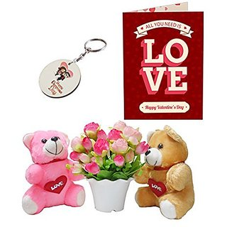 Sky Trends Valentine Combo Gift For Friend Printed Keychain Greeting card Artificial Flower Soft teddy With Plastic Poat Gift For Kiss Day Propose day Promise Day Hug Day Rose Day Gifts