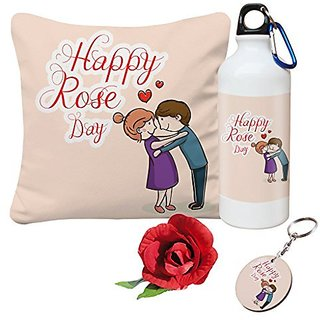 Sky Trends Valentine Combo Gift For Wife Printed Sipper Bottle Keychain Cushion Cover Artificial Rose Gift For Kiss Day Propose day Promise Day Hug Day Rose Day Gifts