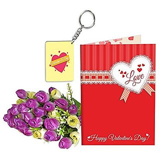 Sky Trends Best Wife Valentine Day Gifts Combo Greeting Card, Artificial Flowers Bunch and Keychain Girlfriend Fiance Birthday Anniversary Gifts Rose Day Gifts Promise Gifts 130