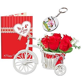 Sky Trends Valentine Combo Gift For Girlfriend Greeting Card Artificial Flower Bunch With Plastic Cycle & Keychain Best Gift For Kiss Day Propose day Promise Day Hug Day Rose Day Gifts
