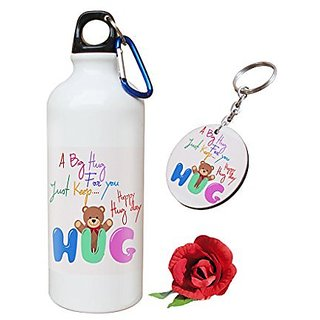 Sky Trends Valentine Combo Gift For Girlfriend Printed Sipper Bottle Keychain Artificial Rose Gift For Kiss Day Propose day Promise Day Hug Day Rose Day Gifts