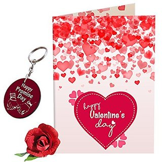 Sky Trends Valentine Combo Gift For Girlfriend Printed Keychain Greeting card Rose Best Gift For Kiss Day Propose day Promise Day Hug Day Rose Day Gifts