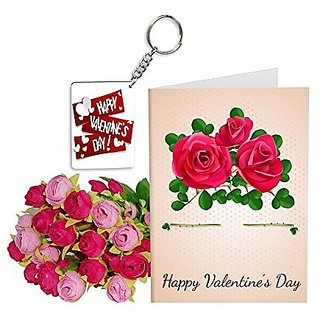 Sky Trends Best Wife Valentine Day Gifts Combo Greeting Card, Artificial Flowers Bunch and Keychain Girlfriend Fiance Birthday Anniversary Gifts Rose Day Gifts Promise Gifts 007