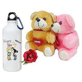 Sky Trends Valentine Combo Gift For Girlfriend Printed Sipper Bottle Soft Teddys Artificial Rose Gift For Kiss Day Propose day Promise Day Hug Day Rose Day Gifts