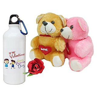 Sky Trends Valentine Combo Gift For Boyfriend Printed Sipper Bottle Soft Teddys Artificial Rose Gift For Kiss Day Propose day Promise Day Hug Day Rose Day Gifts