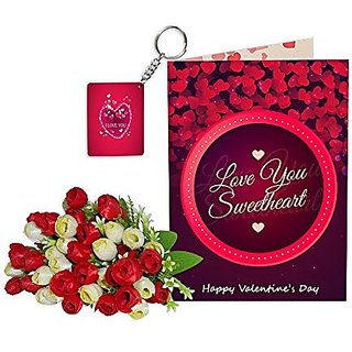 Sky Trends Best Wife Valentine Day Gifts Combo Greeting Card, Artificial Flowers Bunch and Keychain Girlfriend Fiance Birthday Anniversary Gifts Rose Day Gifts Promise Gifts 143
