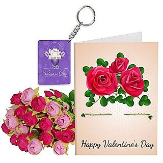 Sky Trends Best Wife Valentine Day Gifts Combo Greeting Card, Artificial Flowers Bunch and Keychain Girlfriend Fiance Birthday Anniversary Gifts Rose Day Gifts Promise Gifts 172