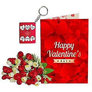 Sky Trends Best Wife Valentine Day Gifts Combo Greeting Card, Artificial Flowers Bunch and Keychain Girlfriend Fiance Birthday Anniversary Gifts Rose Day Gifts Promise Gifts 038