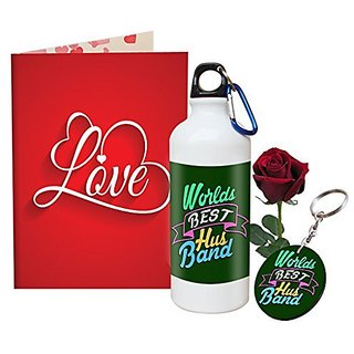 Sky Trends Valentine Combo Gift Set Printed Sipper Keychain Greeting Card Artificial Rose Best Gift For Girlfriend Husband Boyfriend Wife Friend STG-009