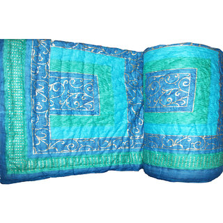 Jaipuri (Sanganeri) Ethnic Golden Print Single Bed Quilt
