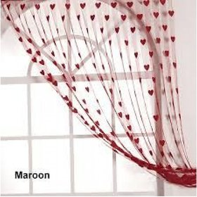 Angel homes  Maroon  Heart Curtains(Set of 2)