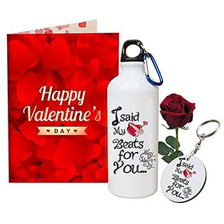 Sky Trends Valentine Combo Gift Set Printed Sipper Keychain Greeting Card Artificial Rose Best Gift For Girlfriend Husband Boyfriend Wife Friend STG-005