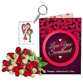 Sky Trends Best Wife Valentine Day Gifts Combo Greeting Card, Artificial Flowers Bunch and Keychain Girlfriend Fiance Birthday Anniversary Gifts Rose Day Gifts Promise Gifts 112