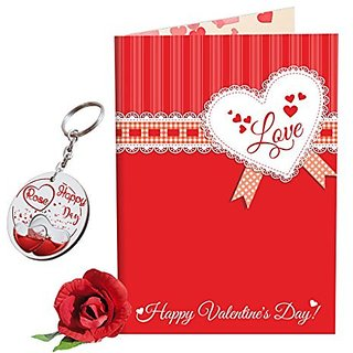 Sky Trends Valentine Combo Gift For Boyfriend Printed Keychain Greeting card Rose Best Gift For Kiss Day Propose day Promise Day Hug Day Rose Day Gifts