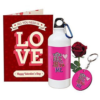 Sky Trends Valentine Combo Gift Set Printed Sipper Keychain Greeting Card Artificial Rose Best Gift For Girlfriend Husband Boyfriend Wife Friend STG-001