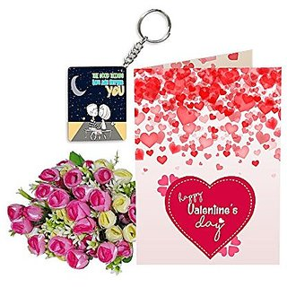 Sky Trends Best Wife Valentine Day Gifts Combo Greeting Card, Artificial Flowers Bunch and Keychain Girlfriend Fiance Birthday Anniversary Gifts Rose Day Gifts Promise Gifts 032