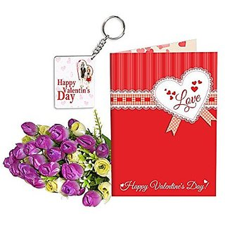 Sky Trends Best Wife Valentine Day Gifts Combo Greeting Card, Artificial Flowers Bunch and Keychain Girlfriend Fiance Birthday Anniversary Gifts Rose Day Gifts Promise Gifts 131