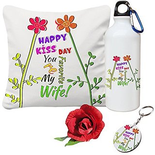 Sky Trends Valentine Combo Gift For Boyfriend Printed Sipper Bottle Keychain Cushion Cover Artificial Rose Gift For Kiss Day Propose day Promise Day Hug Day Rose Day Gifts