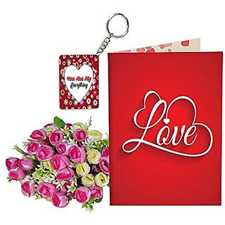 Sky Trends Best Wife Valentine Day Gifts Combo Greeting Card, Artificial Flowers Bunch and Keychain Girlfriend Fiance Birthday Anniversary Gifts Rose Day Gifts Promise Gifts 127