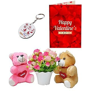 Sky Trends Valentine Combo Gift For Husband Printed Keychain Greeting card Artificial Flower Soft teddy With Plastic Poat Gift For Kiss Day Propose day Promise Day Hug Day Rose Day Gifts