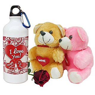 Sky Trends Valentine Combo Gift Set Printed Sipper Bottle Soft teddy Artificial Rose Best Gift For Girlfriend Wife Boyfriend Husband Friend STG-009