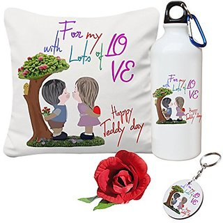 Sky Trends Valentine Combo Gift For Friend Printed Sipper Bottle Keychain Cushion Cover Artificial Rose Gift For Kiss Day Propose day Promise Day Hug Day Rose Day Gifts