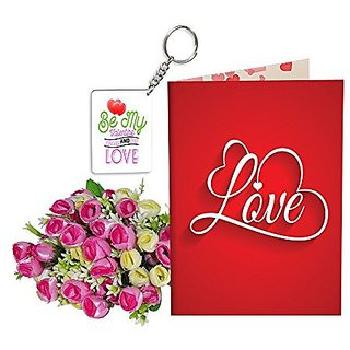 Sky Trends Best Wife Valentine Day Gifts Combo Greeting Card, Artificial Flowers Bunch and Keychain Girlfriend Fiance Birthday Anniversary Gifts Rose Day Gifts Promise Gifts 022