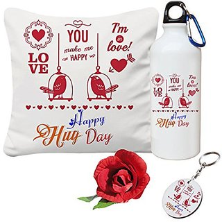 Sky Trends Valentine Combo Gift For Girlfriend Printed Sipper Bottle Keychain Cushion Cover Artificial Rose Gift For Kiss Day Propose day Promise Day Hug Day Rose Day Gifts