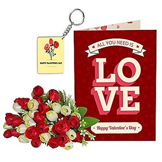 Sky Trends Best Wife Valentine Day Gifts Combo Greeting Card, Artificial Flowers Bunch and Keychain Girlfriend Fiance Birthday Anniversary Gifts Rose Day Gifts Promise Gifts 057