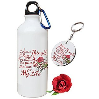 Sky Trends Valentine Combo Gift For Wife Printed Sipper Bottle Keychain Artificial Rose Gift For Kiss Day Propose day Promise Day Hug Day Rose Day Gifts