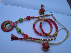HandMade Silk thread neckless,Bangles 1 set , jhumka 1 set