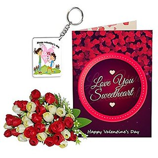 Sky Trends Best Wife Valentine Day Gifts Combo Greeting Card, Artificial Flowers Bunch and Keychain Girlfriend Fiance Birthday Anniversary Gifts Rose Day Gifts Promise Gifts 107