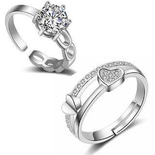 Om Jewells Rhodium Plated Combo of Adjustable Solitaire and Proposal Heart Valentine Ring for Girls and Women CO1000099