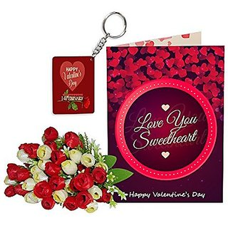 Sky Trends Best Wife Valentine Day Gifts Combo Greeting Card, Artificial Flowers Bunch and Keychain Girlfriend Fiance Birthday Anniversary Gifts Rose Day Gifts Promise Gifts 114