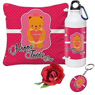 Sky Trends Valentine Combo Gift For Husband Printed Sipper Bottle Keychain Cushion Cover Artificial Rose Gift For Kiss Day Propose day Promise Day Hug Day Rose Day Gifts