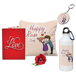 Sky Trends Valentine Gift For Wife Printed Sipper Bottle Keychain Cushion Cover Greeting Card Artificial Rose Gift For Kiss Day Propose day Promise Day Hug Day Rose Day Gifts