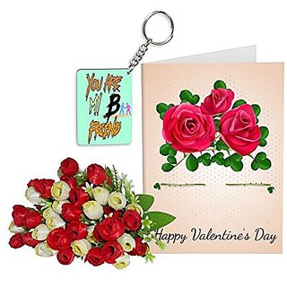 Sky Trends Best Wife Valentine Day Gifts Combo Greeting Card, Artificial Flowers Bunch and Keychain Girlfriend Fiance Birthday Anniversary Gifts Rose Day Gifts Promise Gifts 169