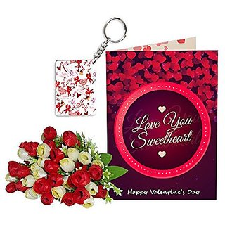 Sky Trends Best Wife Valentine Day Gifts Combo Greeting Card, Artificial Flowers Bunch and Keychain Girlfriend Fiance Birthday Anniversary Gifts Rose Day Gifts Promise Gifts 105